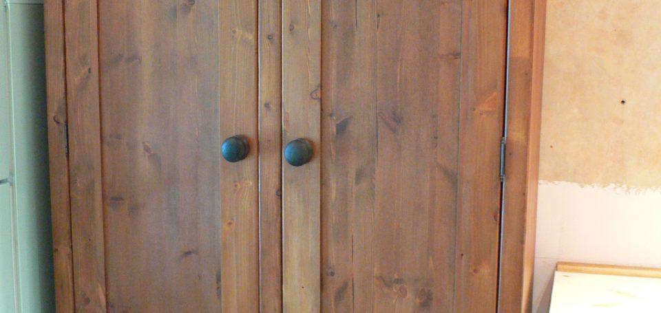 L4 Waxed Wood Double Larder Cupboard