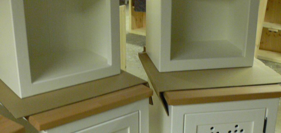 Pair Heart Motif Cupboards and Open Top Cupboards