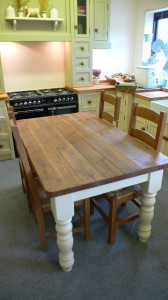 Chunky Kitchen Table With Reclaimed Plank Top