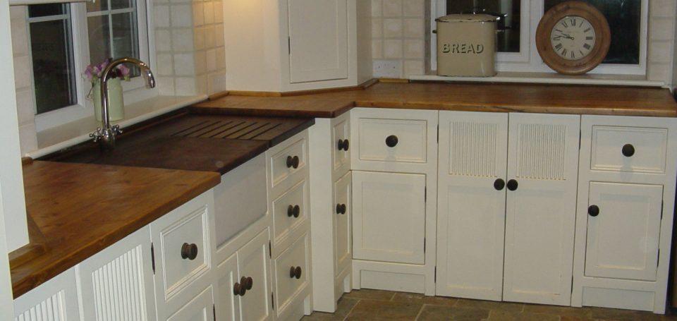 Hillcrest Kitchen With Wooden Worktop, Belfast Sink with Cream Units ...