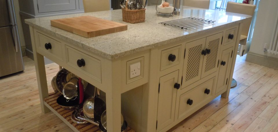 T14 Kitchen Island Unit with 'Hidden' Microwave Cupboard